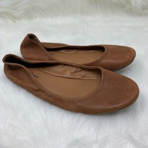 Lucky Brand Brown Tan Leather Ballet Flats 9.5
